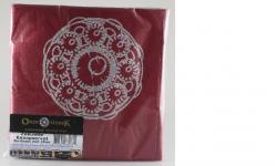 servetten zeeuwse knop bordeaux rood zilver