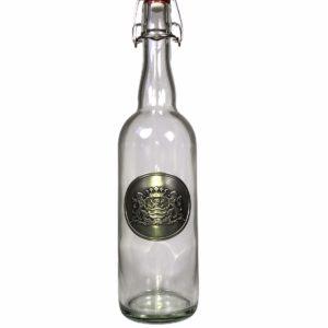 Water bijvul fles beugel met zeeuws wapen in tin